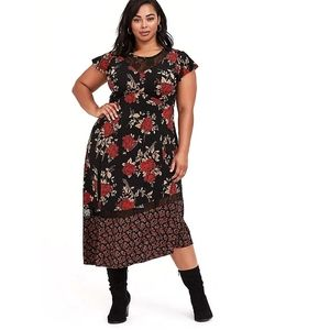 Torrid Black Lace Studio Knit Floral Midi Dress